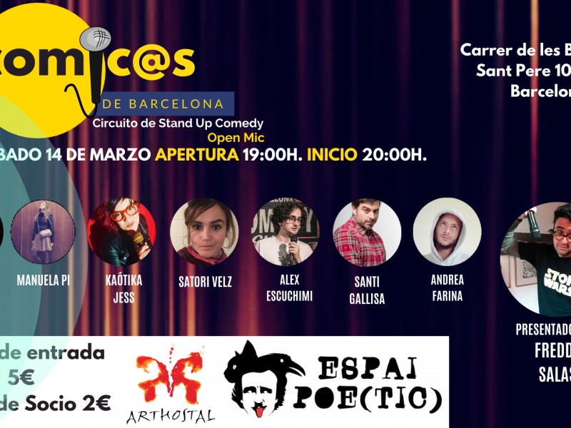 Sábado de Monólogos Cómic@s de Barcelona 14-03-20